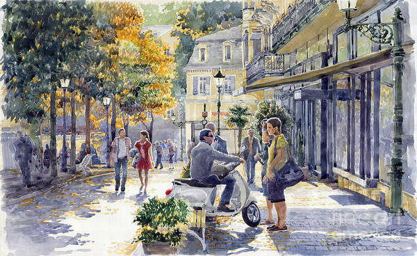Watercolor Poster featuring the painting Baden-baden Sophienstr Last Warm Day by Yuriy Shevchuk