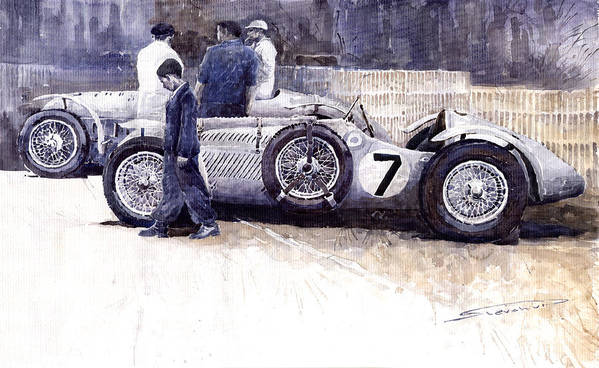 Auto Poster featuring the painting First Met Up Talbot Lago Le Mans 1950 by Yuriy Shevchuk