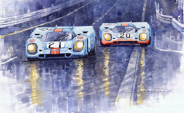 Watercolour Poster featuring the painting Gulf-porsche 917 K Spa Francorchamps 1970 by Yuriy Shevchuk