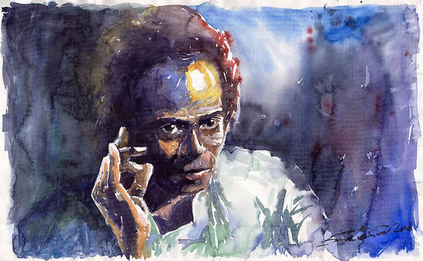 Jazz Watercolor Watercolour Miles Davis Portret Poster featuring the painting Jazz Miles Davis 11 by Yuriy Shevchuk