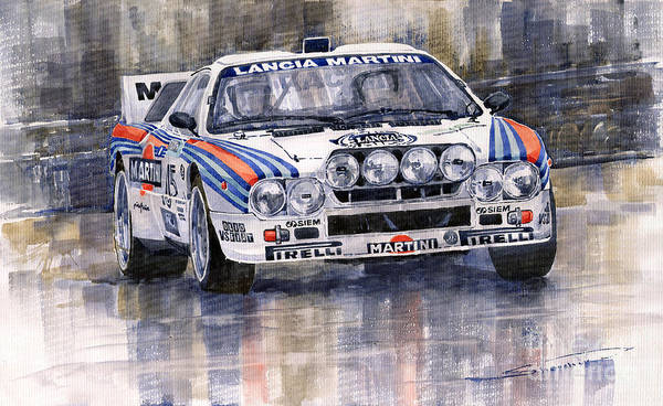 Watercolor Poster featuring the painting Lancia 037 Martini Rally 1983 by Yuriy Shevchuk