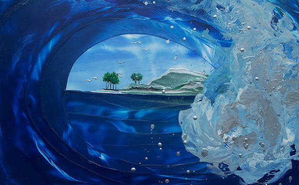 Wave Poster featuring the painting North Shore Window Barrel Right by Danita Cole