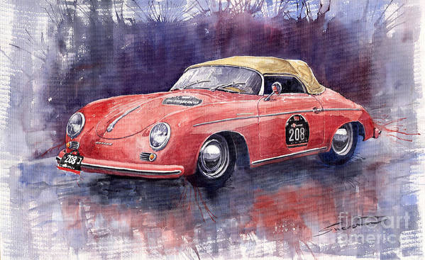 Watercolour Poster featuring the painting Porsche 356 Speedster Mille Miglia by Yuriy Shevchuk