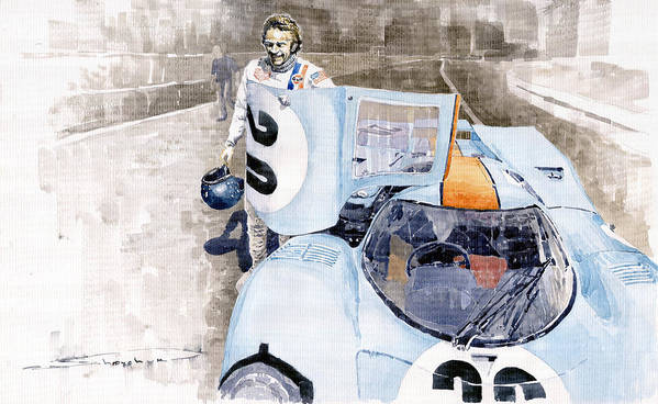 Watercolor Poster featuring the painting Porsche 917k Le Mans Steve Mcqueen by Yuriy Shevchuk