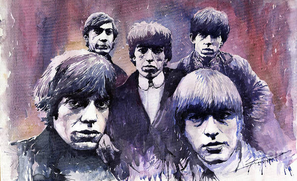 Watercolor Poster featuring the painting Rolling Stones by Yuriy Shevchuk