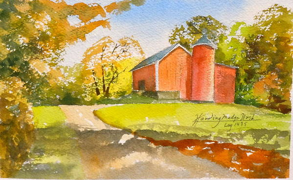 New England Barn. Poster featuring the painting The Red Barn by Harding Bush