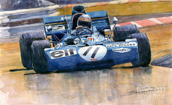 Watercolor Poster featuring the painting Tyrrell Ford 003 Jackie Stewart 1971 French Gp by Yuriy Shevchuk