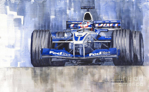 Watercolour Poster featuring the painting Williams Bmw Fw24 2002 Juan Pablo Montoya by Yuriy Shevchuk
