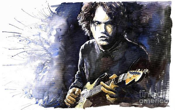 Jazz Poster featuring the painting Jazz Rock John Mayer 03 by Yuriy Shevchuk