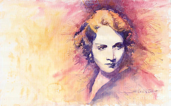 Watercolour Painting Poster featuring the painting Marlen Dietrich 1 by Yuriy Shevchuk