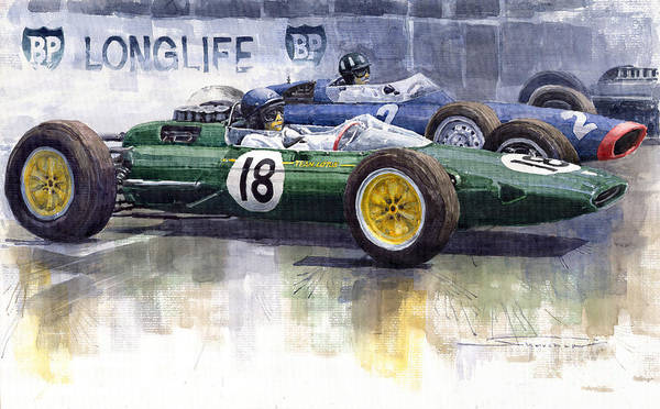 Watercolour Poster featuring the painting French Gp 1963 Start Lotus Vs Brm by Yuriy Shevchuk