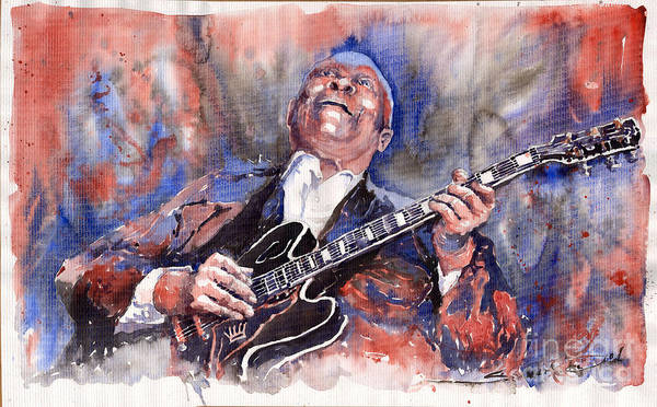 Jazz Poster featuring the painting Jazz B B King 05 Red A by Yuriy Shevchuk