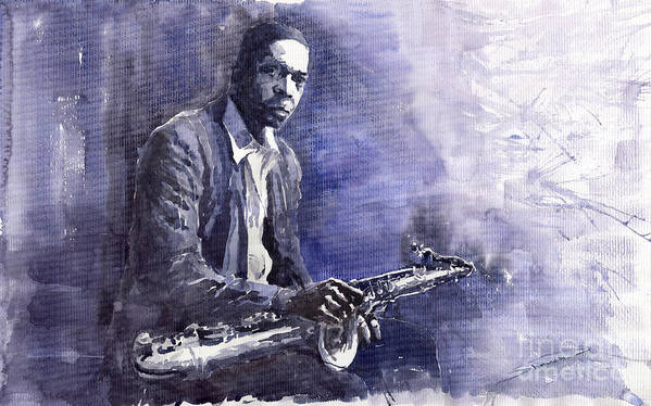 Figurative Poster featuring the painting Jazz Saxophonist John Coltrane 03 by Yuriy Shevchuk