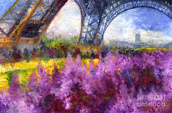 Oil Poster featuring the painting Paris Tour Eiffel 01 by Yuriy Shevchuk