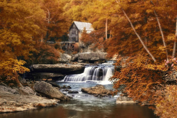 Fall Poster featuring the photograph Glade Creek Mill Selective Focus by Tom Mc Nemar