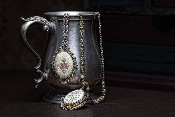 Jewelry Poster featuring the photograph Pewter Cup Still Life by Tom Mc Nemar