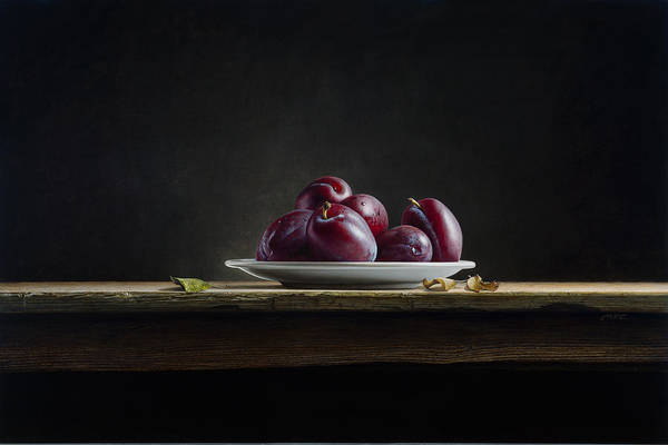 Plums Poster featuring the painting Plate With Plums by Mark Van crombrugge