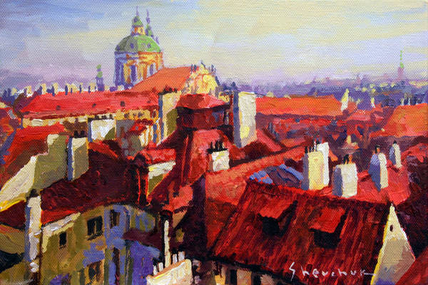 Acrilic Poster featuring the painting Prague Old Roofs 04 by Yuriy Shevchuk