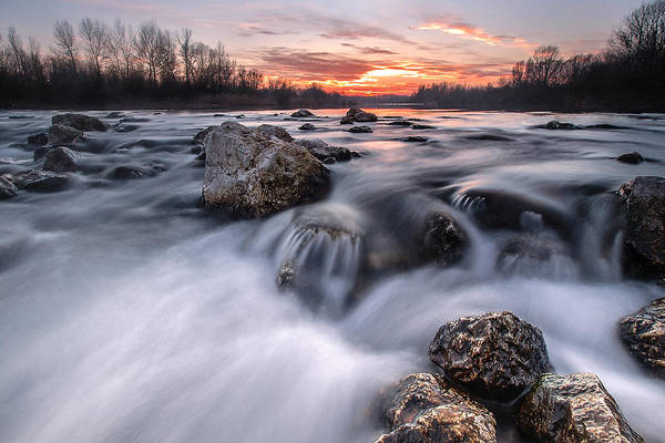 Landscapes Poster featuring the photograph Rapids On Sunset by Davorin Mance