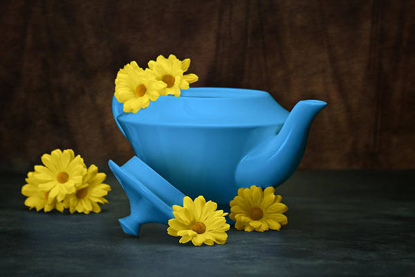 Art Poster featuring the photograph Tea Kettle With Daisies Still Life by Tom Mc Nemar