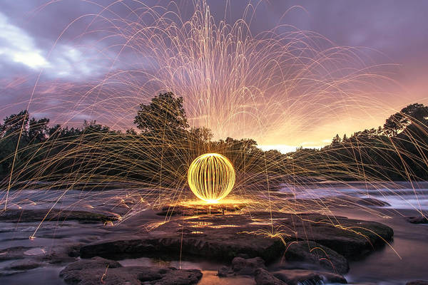 Steel Wool Poster featuring the photograph The American River Orb by Lee Harland