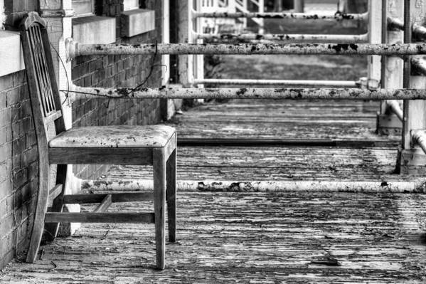 The Chair Poster featuring the photograph The Front Porch Bw by JC Findley
