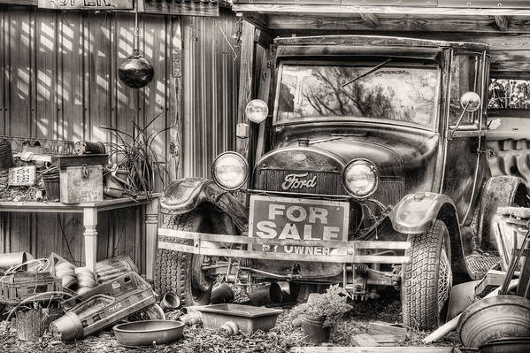 The Garage Sale Poster featuring the photograph The Garage Sale Black And White by JC Findley