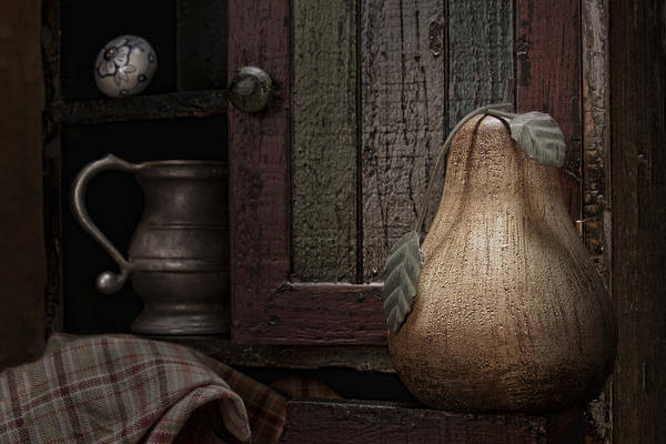 Pear Poster featuring the photograph Wooden Pear Still Life by Tom Mc Nemar