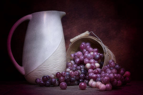 Art Poster featuring the photograph Grapes With Pitcher Still Life by Tom Mc Nemar