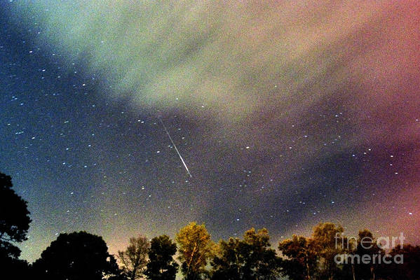 Meteor Poster featuring the photograph Meteor Perseid Meteor Shower by Thomas R Fletcher