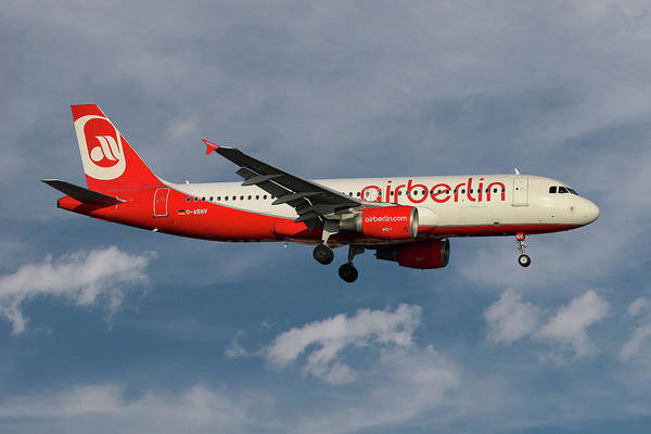 Air Berlin Poster featuring the photograph Air Berlin Airbus A320-214 by Smart Aviation