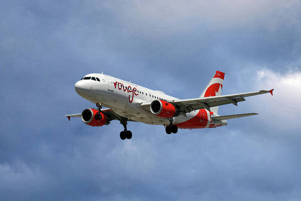 Air Canada Poster featuring the photograph Air Canada Rouge Airbus A319 by Smart Aviation