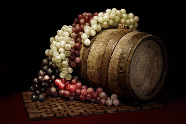 Art Poster featuring the photograph Grapes And Wine Barrel by Tom Mc Nemar