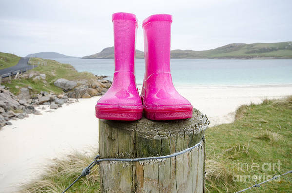 Vatersay Poster featuring the photograph Pink Wellies by Smart Aviation