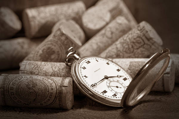 Watch Poster featuring the photograph Wine Corks Still Life Vi Aged To Perfection by Tom Mc Nemar