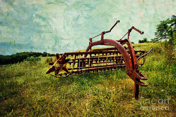 Farm Poster featuring the digital art Farm Equipment In A Field by Amy Cicconi