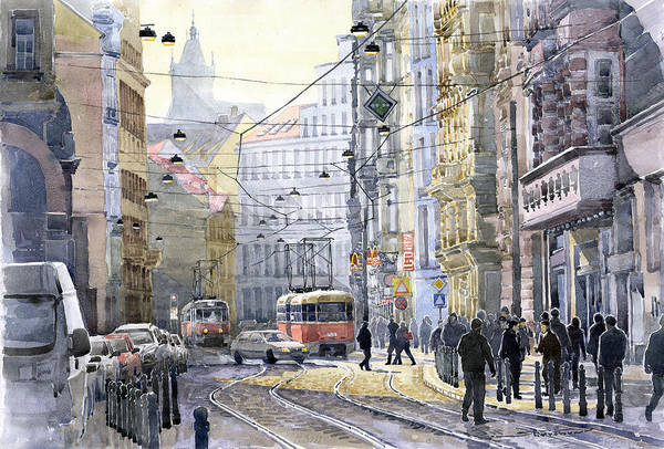 Watercolor Poster featuring the painting Prague Vodickova Str by Yuriy Shevchuk