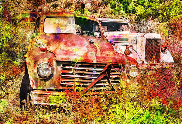 White Poster featuring the photograph Truck Abstract by Robert Jensen