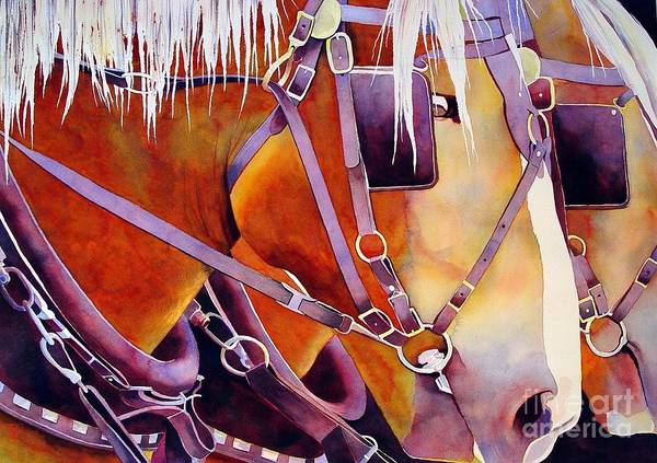 Watercolor Poster featuring the painting Farm Horses by Robert Hooper