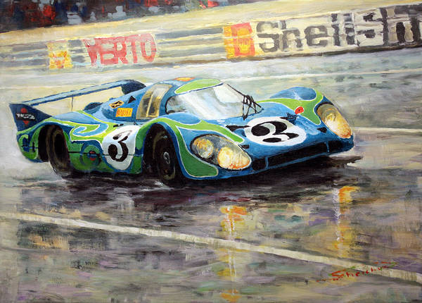 Acrilic On Canvas Poster featuring the painting Porsche Psychedelic 917lh 1970 Le Mans 24 by Yuriy Shevchuk