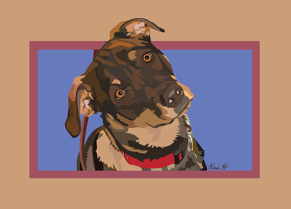 Mixed Breed Dog Poster featuring the digital art Red II by Kris Hackleman