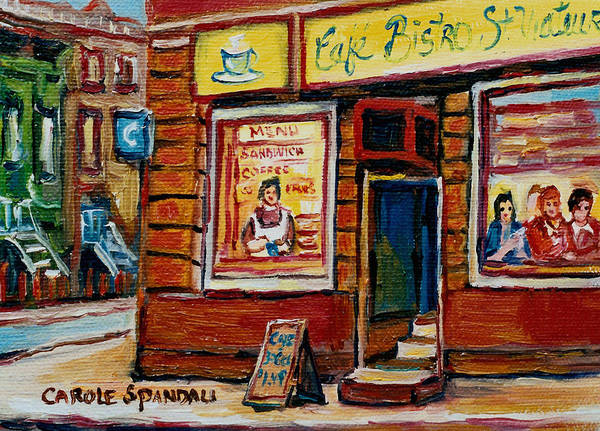 Cafe Bistro St.viateur Poster featuring the painting Cafe Bistro St. Viateur by Carole Spandau