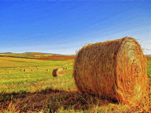 Hay Bales Poster featuring the painting Hay Bales by Dominic Piperata
