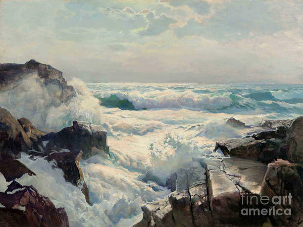 Pd Poster featuring the painting On The Maine Coast by Pg Reproductions