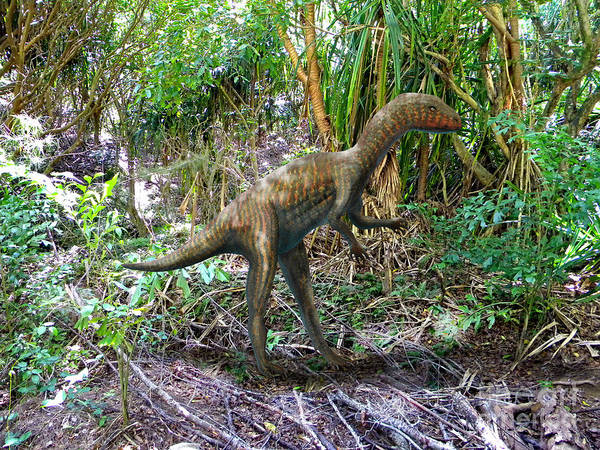 Dinosaur Art Poster featuring the mixed media Othiniela In The Forest by Frank Wilson