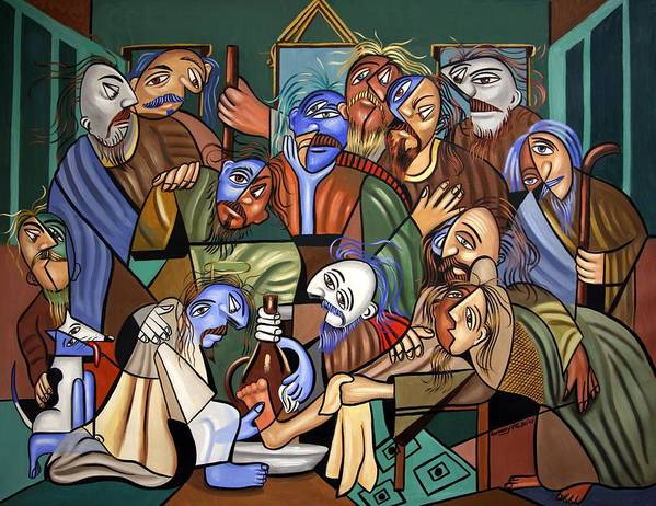 Before The Last Super Poster featuring the painting Before The Last Supper by Anthony Falbo
