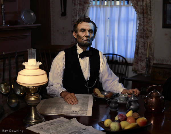 Abraham Lincoln Poster featuring the digital art Lincoln At Breakfast 2 by Ray Downing