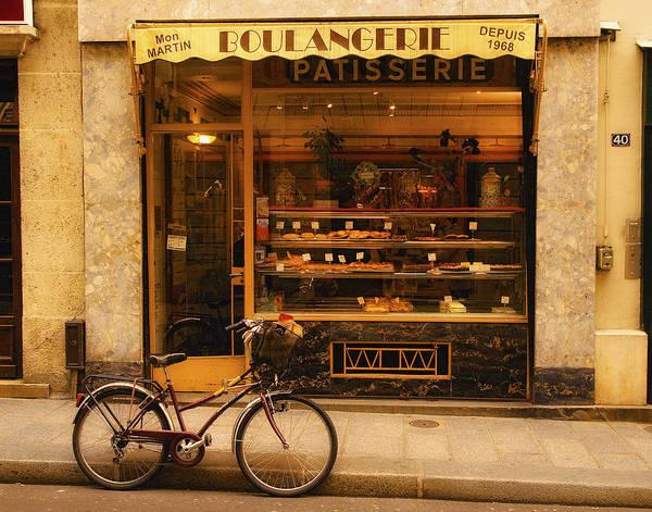 Paris Poster featuring the photograph Boulangerie And Bike by Mick Burkey