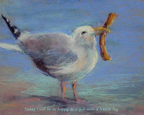 Sea Gull Poster featuring the painting Happiness Is ... by Karen Margulis