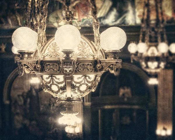 Bronze Poster featuring the photograph The Senate Chandeliers by Lisa Russo